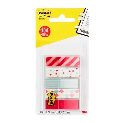 Post-it® Index Mini 684-CAN5, 5 x 20 durchgefärbte Haftstreifen im Etui, Candy Collection, 11,9 x 43,2 mm