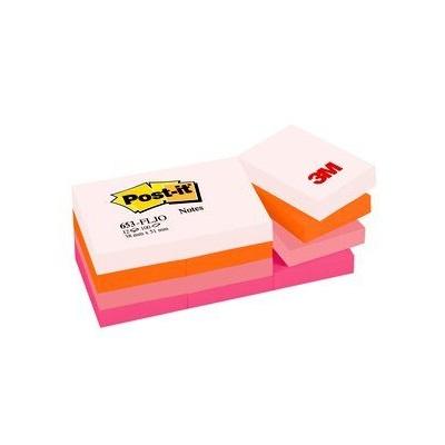 Post-it® Notes 653FLJO, 51 x 38 mm, neonorange, neonrosa, pastellrosa, ultrapink, 12 Blöcke à 100 Blatt