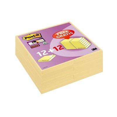 Post-it® Super Sticky Notes Promotion 654SP24, 24 Blöcke à 90 Blatt zum Vorteilspreis, gelb, 76 x 76 mm