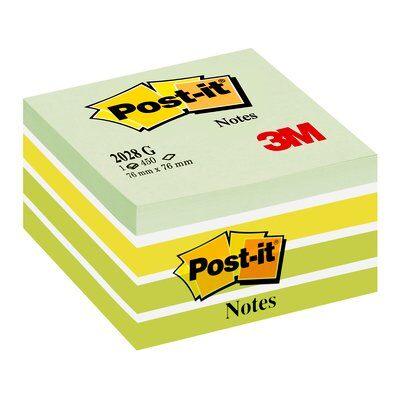 Post-it® Würfel 2028G, 76 x 76 mm, Pastell-Grüntöne, 1 Würfel à 450 Blatt