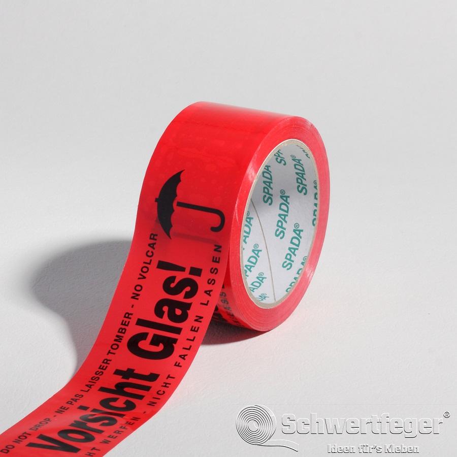 """SPADA® PP Packband 3-sprachig """"Vorsicht Glas nicht werfen"""" 50 mm x 66 m"""