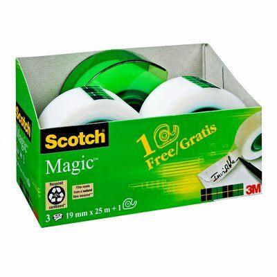Scotch® Magic™ Klebeband 3 Rollen 19mm x 25 m + 1 Abroller GRATIS
