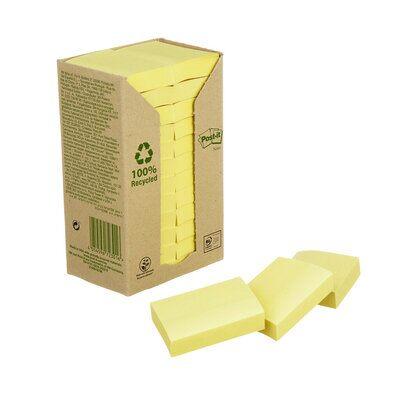 Post-it® Recycling Notes 653-1T, 51 x 38 mm, gelb, 24 Blöcke à 100 Blatt