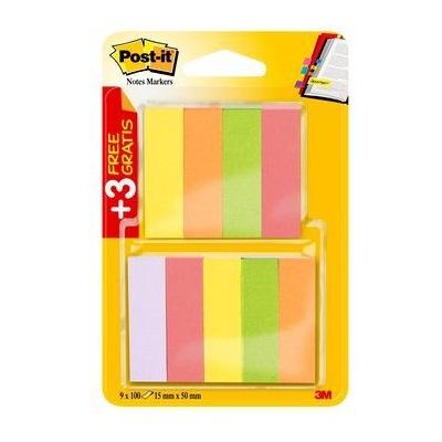 Post-it® Page Marker  670-6+3, 15 x 50 mm, neongelb, neongrün, neonorange, neonpink, violett, 6 x 100 Blatt