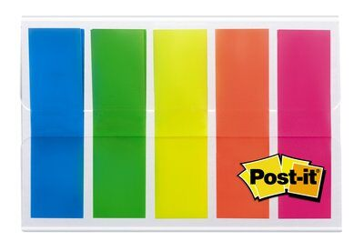 Post-it® Index 683HF5, 11,9 x 43,2 mm, blau, gelb, grün, orange, pink, 5 x 20 Haftstreifen