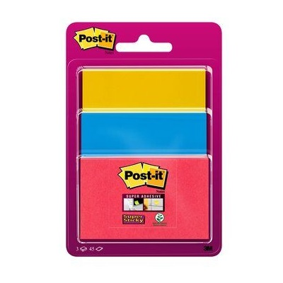 Post-it® Super Sticky Notes 34323BYP, 3 Blöcke à 45 Blatt, mohnrot, 48 x 76 mm, ultrablau, 76 x 76 mm, ultragelb, 76 x 101 mm