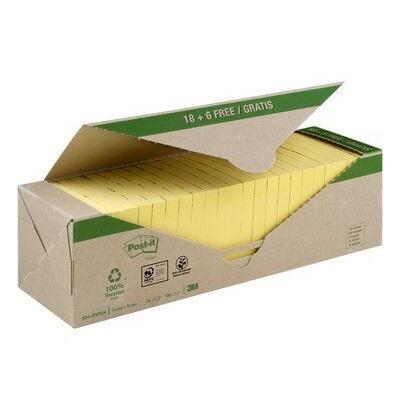Post-it® Recycling Notes 654RY18+6, 76 x 76 mm, gelb, 24 Blöcke à 100 Blatt