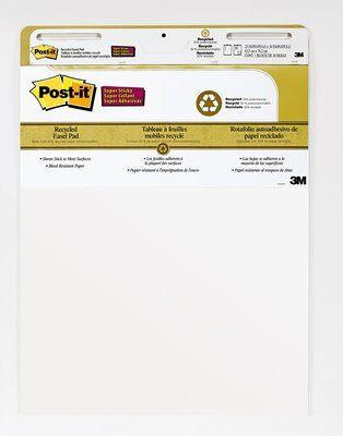 Post-it® Super Sticky Meeting Chart Wall Pad, Weiß, unliniert, 2 Blöcke, 584mm x 508mm+ 8 Command™ Strips
