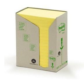 Post-it® Recycling Notes 655-1T, 127 x 76 mm, gelb, 16 Blöcke à 100 Blatt