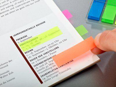 Post-it® Index 683HF4, 11,9 x 43,2 mm, blau, gelb, orange, pink, 4 x 35 Haftstreifen