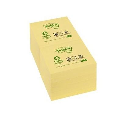 Post-it® Recycling Notes 6541GE, 76 x 76 mm, gelb, 1 Block à 100 Blatt