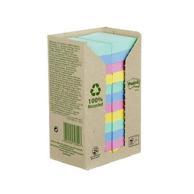 Post-it® Recycling Notes 653-1RPT, 51 x 38 mm, verschiedene Farben, 24 Blöcke à 100 Blatt