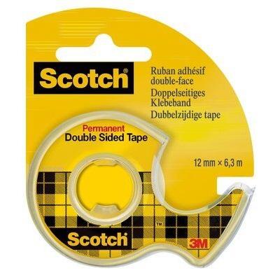 Scotch® Doppelseitiges Klebeband Handabroller mit 1 Rolle 12mm x 6.3m